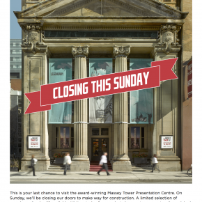 Massey Tower Presentation Centre closing this Sunday