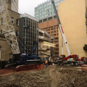 Shoring Crane Arrives at the Site of MOD's Massey Tower